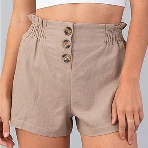 Cute comfy taupe high waisted shorts